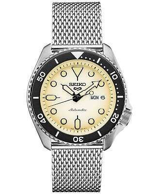 Seiko Five SRPD67 Automatic Watch 100 Meter  Stainless Mesh Band Cream Dial -