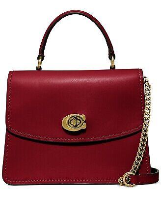 COACH Leather Parker Top Handle Satchel Deep Red 52664 Coach Top Handle Leather