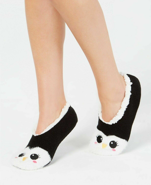 Charter Club Womens Penguin Slipper Socks Black Size L/XL -