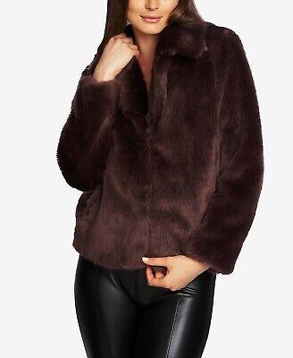 1.STATE Faux-Mink Coat Brown Medium