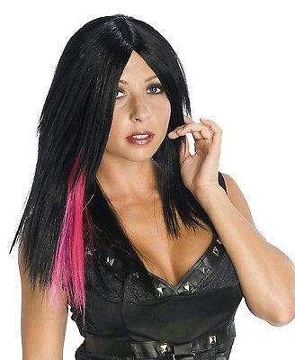 Black Layered Punk Rocker Biker Wig with Pink Dark Streak - Biker Wig
