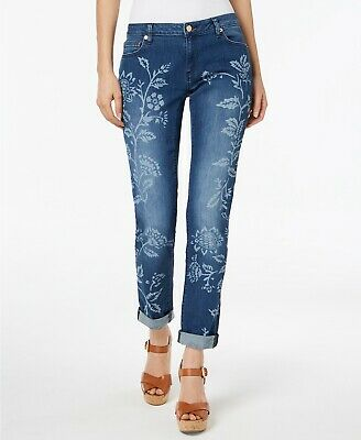 MICHAEL Kors Floral-Print Cropped Jeans petite antique wash Size 10p msrp$125.00 - Michael Kors Petite Jeans