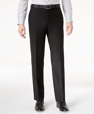 $150 CALVIN KLEIN Men's Black Wool SLIM FIT FLAT FRONT DRESS PANTS 40 W 32 L