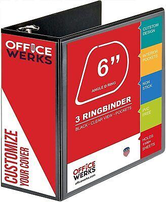 3 Ring Binder 6 Inch Capacity D Ring Binders 8.5 X 11 View Binder. Black.