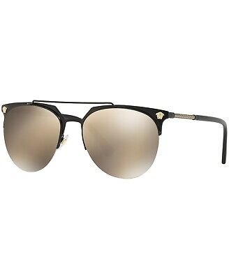 NEW Versace VE2181-12615A 57mm Sunglasses Black Matte / Lt Brown Mirror Gold