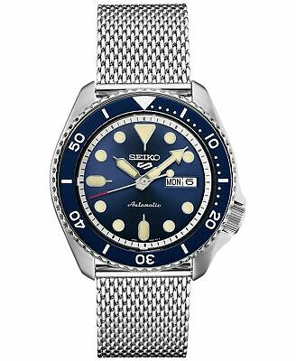 Seiko Five SRPD71 Automatic Watch 100 Meter Blue Stainless Mesh Band USA -
