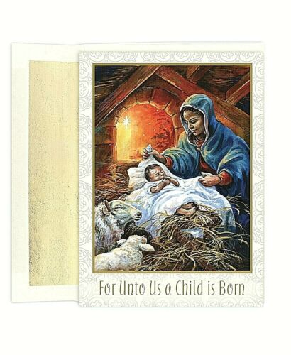 African American Mary And Baby Jesus Set of 18 Boxed Holiday Greeting Cards