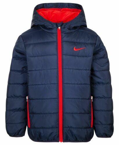 New Boys NIKE Swoosh Winter Hooded Jacket Puffer Coat Blue/Red - Size T2