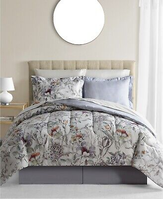 New Fairfield Square Evelyn 8 Piece White Floral King Comforter Ensemble Bed Set