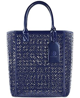 NEW! TORY BURCH Large Navy Lace Perforated Patent leather Tote Bag Shopper bag