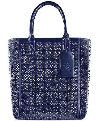 e33e053c9e TORY BURCH Large Navy Lace Perforated Patent leather Tote Bag Shopper bag