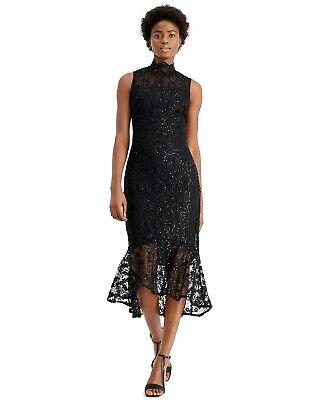 Calvin Klein New BLACK Sequin Lace High-Low Sheath Cocktail Dress 4,6,8,12,14,16 Black Sequin Cocktail