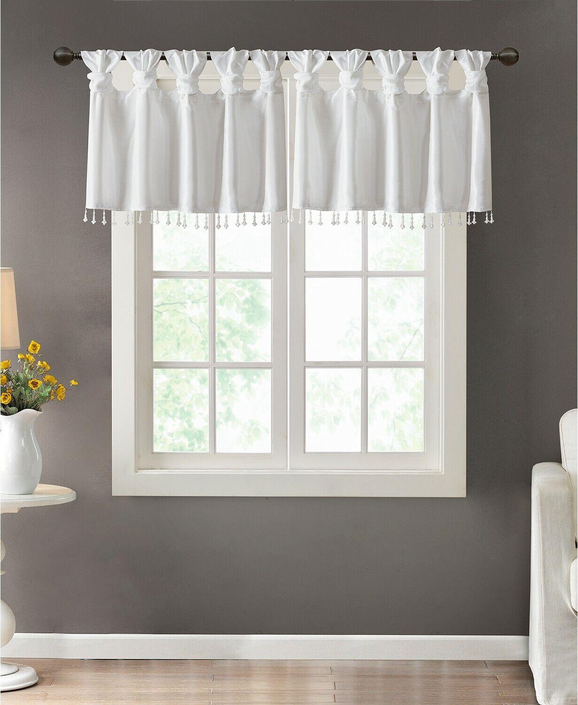 Madison Park Emilia 50 X 26 Lined Faux-Silk Twisted Tab Curtain Valance White - $25.49
