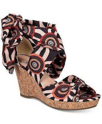 Impo  Ovalia Wrap Wedge Sandals Shoes New In Box Size 10 Black Spice Multi