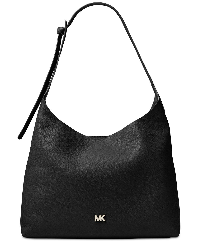 Michael Kors Junie Black Pebble Leather Hobo Shoulder Bag
