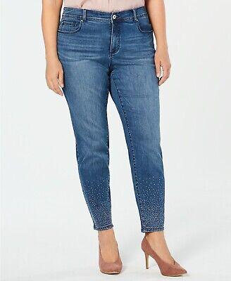 Inc Women's Caviar Studs Skinny Jeans Blue Plus Size 14 thru 28 Blue Stud Skinny Jean