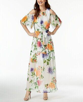 CALVIN KLEIN New NWT WHITE MULTI FLORAL CHIFFON LONG DRESS size -