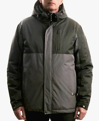 $375 HAWKE & CO Men's GRAY HOODED PUFFER DOWN FRONT FULL ZIP PARKA COAT JACKET S Front Hooded Down Parka