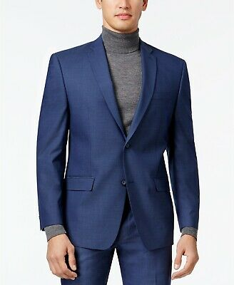Andrew Marc New York Mens Stretch Classic-Fit Neat Suit Jacket Blue 40R NEW $475