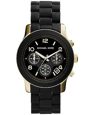 Michael Kors MK5191 Runway Sport Watches Quartz Black Silicone Women's Watch
