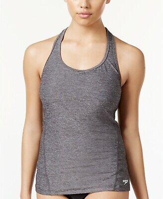 Speedo Women's Power Pulse Heathered Tankini Top Heather Grey Size 4 Macy's