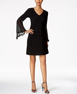 (MSK Illusion Bell-Sleeve A-Line Dress Size M # 2B 339 Blm )