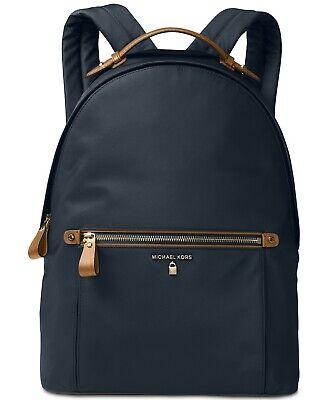 Michael Kors Kelsey Large Nylon Backpack -Admiral/Brown/Gold