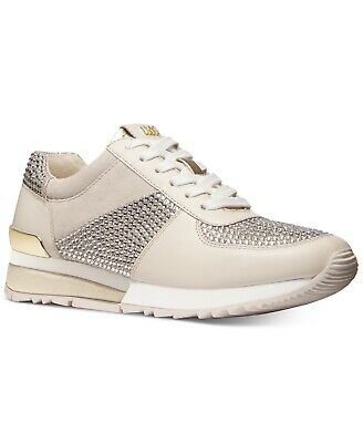 Michael KORS ALLIE WRAP Pale Gold Crystals Silver Glitter Sneakers I LOVE SHOES