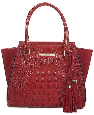 Brahmin NEW Red Gold Mini Priscilla Lausanne Embossed Leather Satchel $295 #003