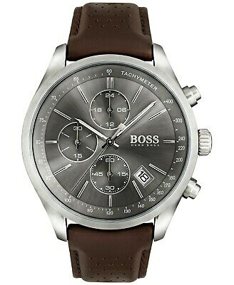 Hugo Boss Grand Prix Chronograph Gray Dial Brown Leather Men's Watch 1513476 Dial Brown Leather Bracelet