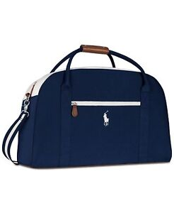 Ralph Lauren POLO navy Blue white Hand Duffle Bag Weekender carry on travel gym