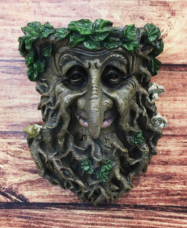 "Ebros Big Nose Leafman Gargoyle Celtic Greenman Hanging Wall Decor Plaque 9"" H"