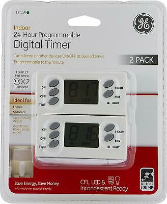 GE 24-Hour Indoor Programmable Digital Timer For Lamps or Seasonal Use  2 -Pack