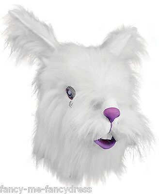 Adult Furry White Rabbit Rubber Mask Animal Halloween Fancy Dress Costume Outfit (White Mask Halloween Outfit)