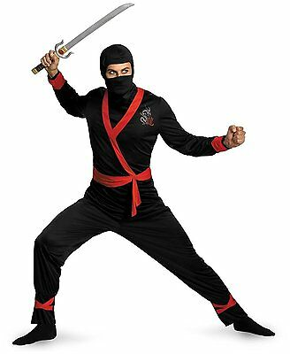 Mens Ninja Costume Black Samurai Warrior Hooded Outfit Japanese Fighter Adult XL (Japanese Samurai Costumes)