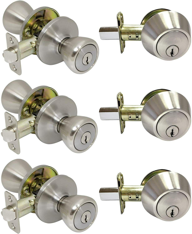 3 Pack Pro-Grade Classic Entry Door Knob and Deadbolt Combo Sets, Satin Nickel Building & Hardware