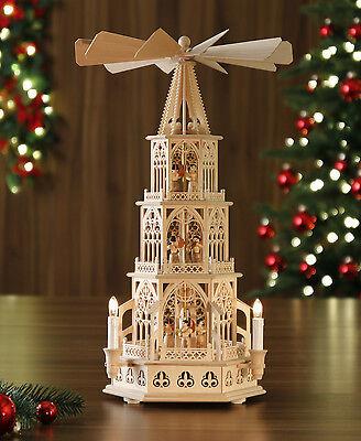 Tilgner- Weihnachtspyramide elektrisch / Erzgebirge: 55cm, Modell: Konzert-Engel