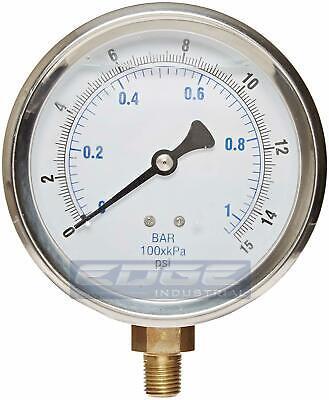 Liquid Filled Pressure Gauge 0-15 Psi 4 Face 14 Lower Mount
