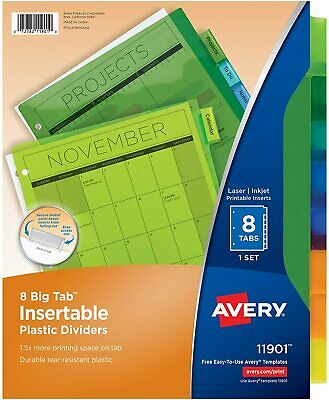 Avery 8 Tab Plastic Binder Dividers Insertable Multicolor 8 Tabs 1 Set 11901