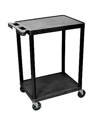 Luxor He32-b Utility Cart With Swivel Casters 2 Shelves Black New