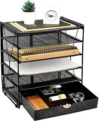 Mesh Letter Tray 5 Tier Desk File Organizer Desktop Paper Tray Holder Black