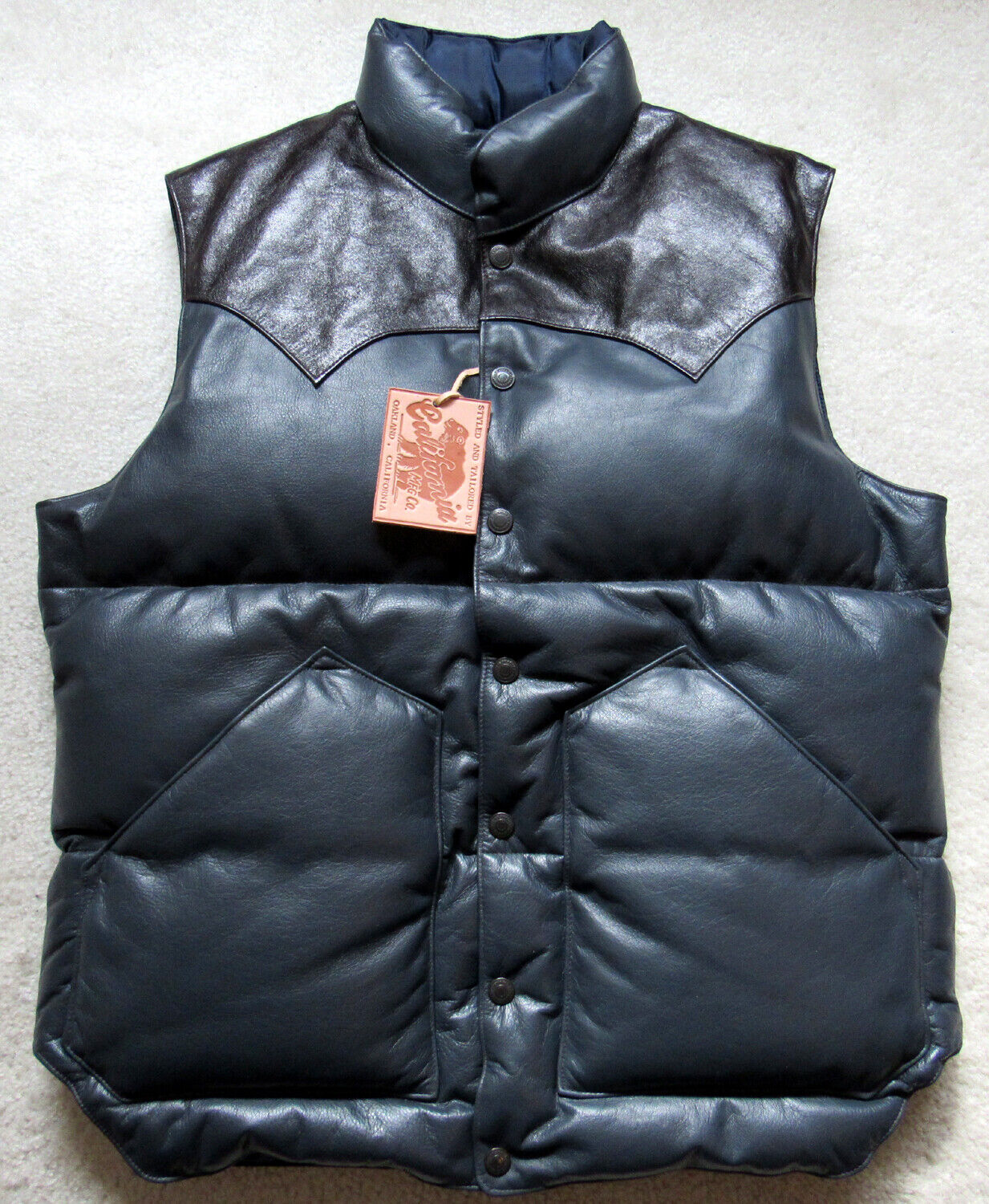 Rainbow Country Japan Shinki Horsehide LEATHER DOWN VEST Siz