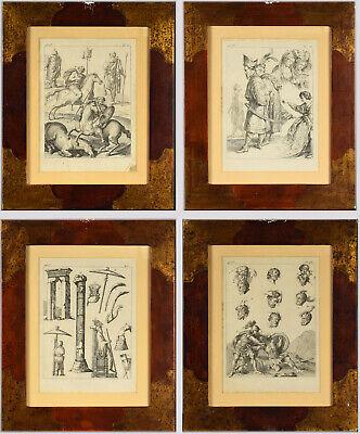 Set of 4 Framed Prints - Figural Studies of Ancient Battle Scenes Etc. Study Framed Print Set