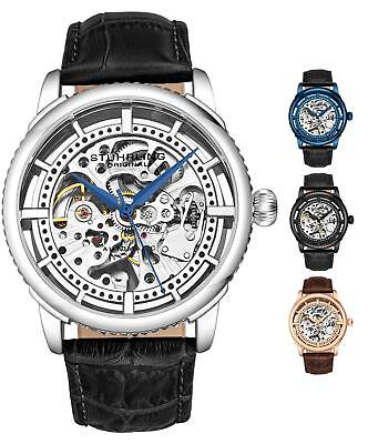 Stuhrling 3933 Men's Skeleton Automatic Self Wind Luxury Leather Dress Watch