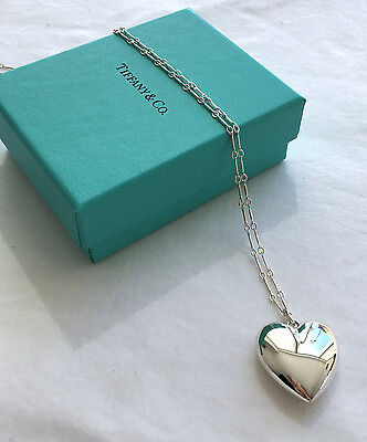 "Tiffany & Co New in Box Ziegfeld Puffed Heart Pendant and 24"" Necklace Silver"