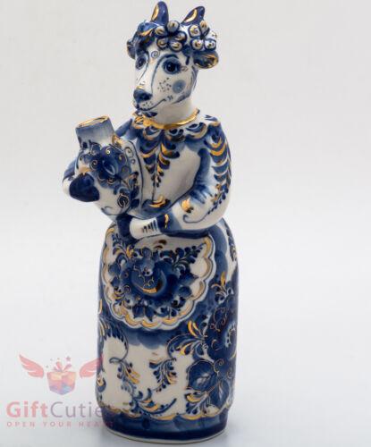 Goat gzhel porcelain shtof for vodka liquor handmade