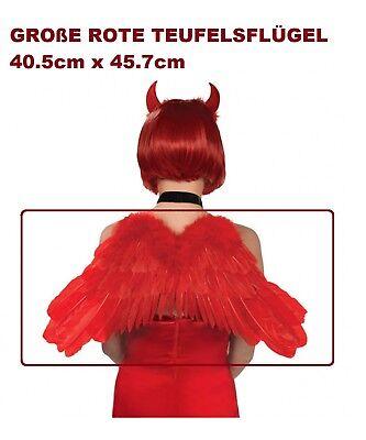 GROßE ROTE TEUFELSFLÜGEL Halloween Teufel Vamp Satan Flügel Kostüm Party 40x45