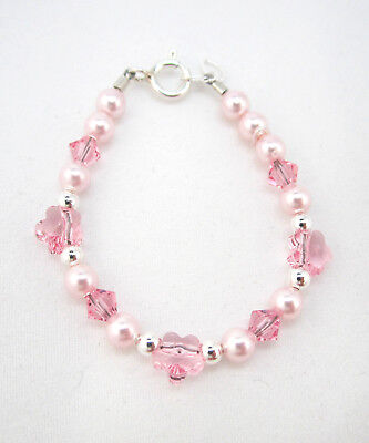 - Baby and Child Bracelet with Pink Swarovski Pearls and Flower Crystals