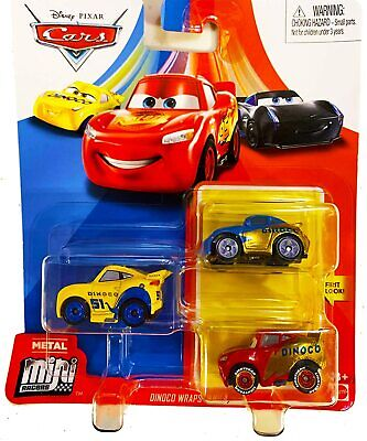 Disney Pixar Cars Mini Racers 3 Pack Dinoco Wraps Sally, Lightning McQueen, Cruz