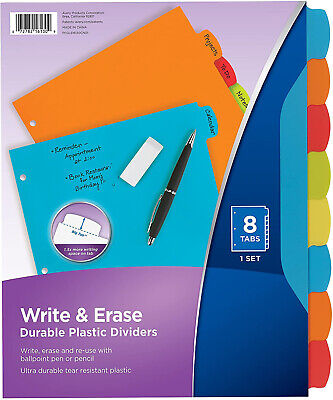 Big Tab Write Erase Durable Plastic Dividers 8 Multicolor Tabs1 Set 16130